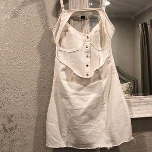 Forever 21 Dresses - WHITE DENIM OPEN BACK BUTTON UP MINI DRESS SIZE S